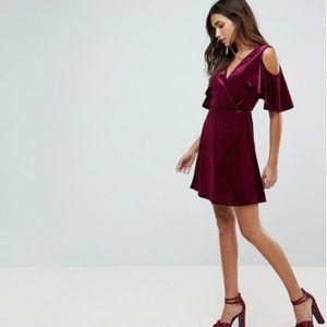 Boohoo Velvet Cold Shoulder Wrap Dress (US 10)